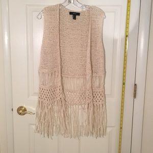 Fringe boho hippie sweater vest